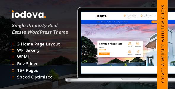 Wordpress Immobilien Template Iodova - Single Property Real Estate WordPress Theme
