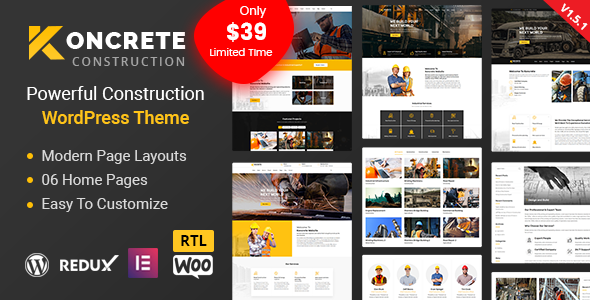 Wordpress Immobilien Template Koncrete - Construction Building WordPress Theme