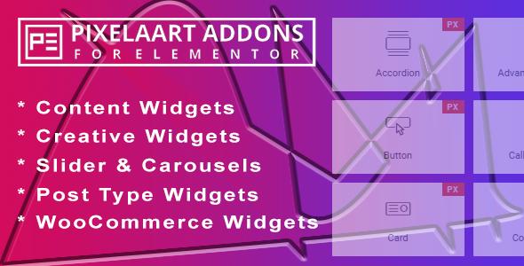 Wordpress Add-On Plugin Pixelaart Addons for Elementor WordPress Plugin
