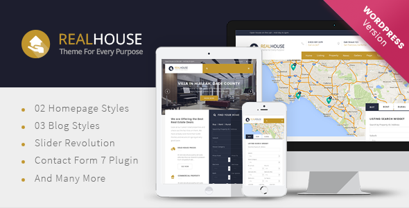 Wordpress Immobilien Template Realhouse - Real Estate WordPress theme