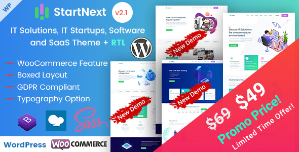 Wordpress Immobilien Template StartNext - IT Startups and Digital Services WordPress Theme