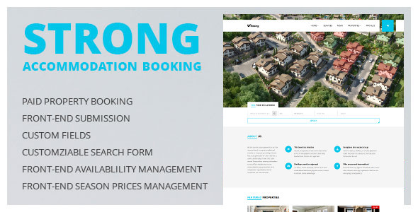 Wordpress Immobilien Template Accommodation Booking WordPress Theme - Strong