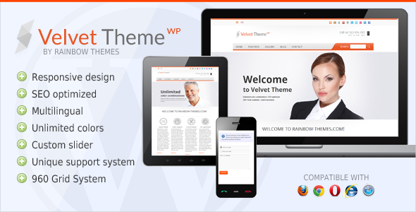Wordpress Corporate Template Velvet: Clean, Responsive WordPress Theme