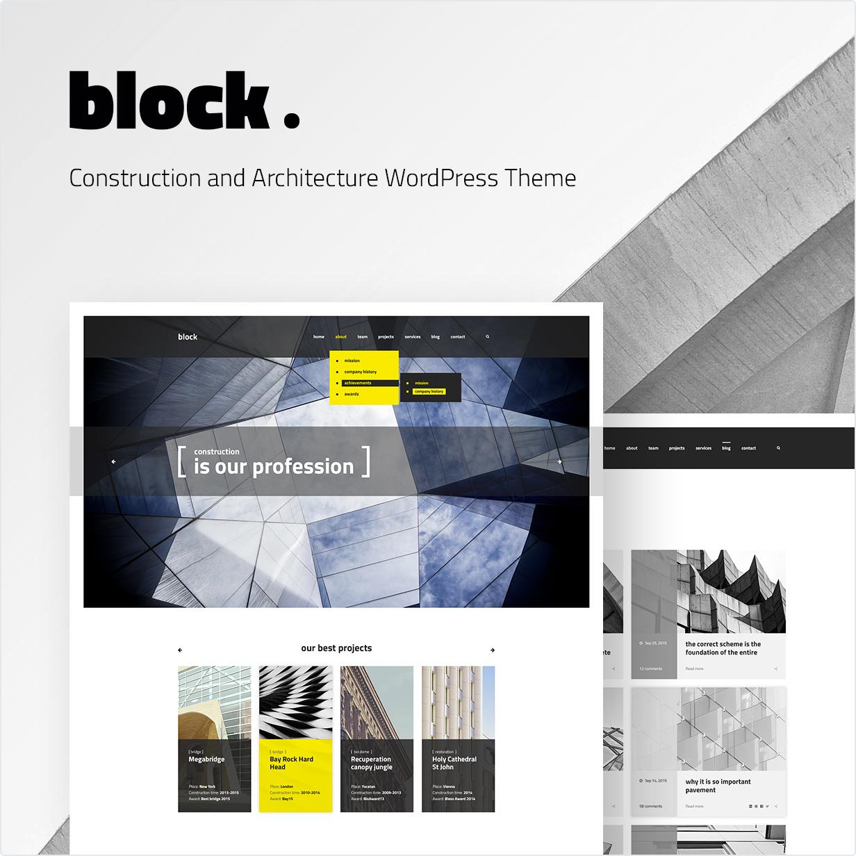 Konstruktion und Architektur WordPress Theme Block