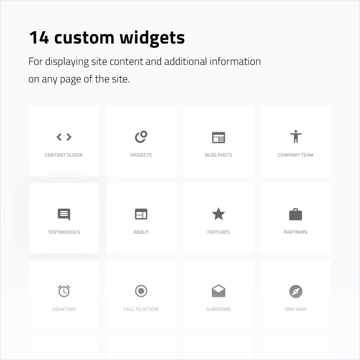 14 benutzerdefinierte Widgets zum Anzeigen von Websiteinhalten und zusätzlichen Informationen auf einer beliebigen Seite der Website