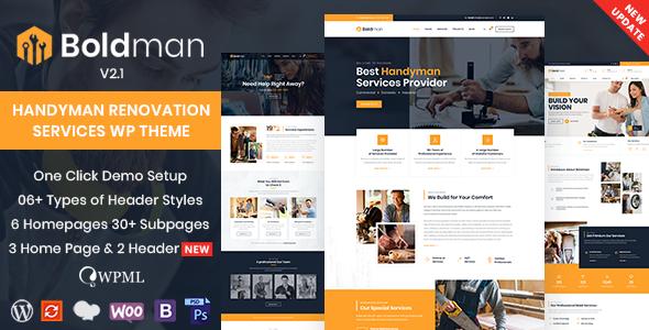 Wordpress Immobilien Template Boldman - Handyman Renovation Services WordPress Theme