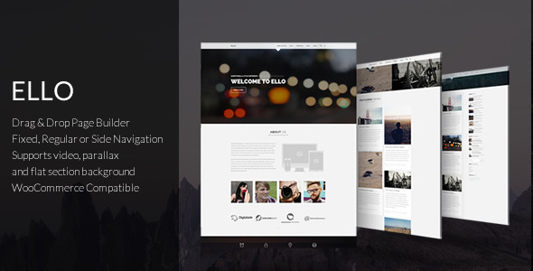 Wordpress Corporate Template Ello - Responsive Bold Multipage/Onepage Theme