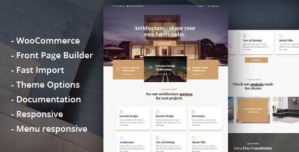 Wordpress Immobilien Template Glauss - Architecture & Creative Design WordPress Theme
