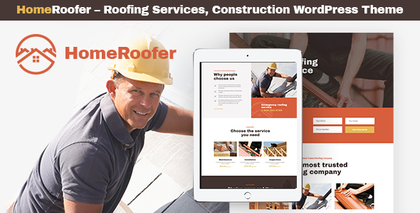 Wordpress Immobilien Template HomeRoofer | Roofing Company Services & Construction WordPress Theme