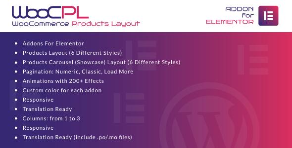 Wordpress Add-On Plugin WooCommerce Products Layout for Elementor WordPress Plugin