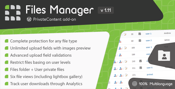 Wordpress Add-On Plugin PrivateContent - Files Manager add-on