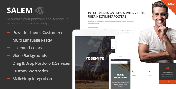 Wordpress Corporate Template Salem - Clean and Bold One Page WordPress Theme