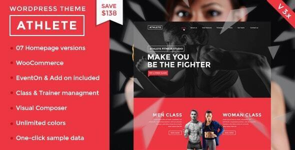 Wordpress Immobilien Template Athlete Fitness | Gym and Sport WordPress Theme