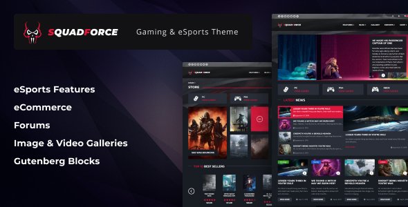 Wordpress Entertainment Template SquadForce - eSports Gaming WordPress Theme