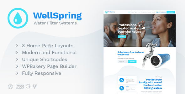 Wordpress Immobilien Template WellSpring | Aqua Filters & Drinking Water Delivery WordPress Theme