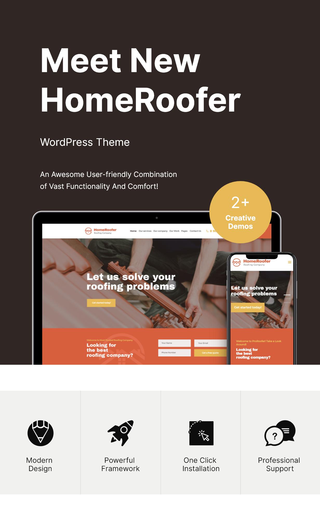 Dachdecker Dienstleistungen & Konstruktion WordPress Theme Features
