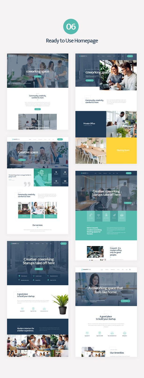 Mehrere einsatzbereite Homepages des Coworkshop Coworking Center WordPress Theme