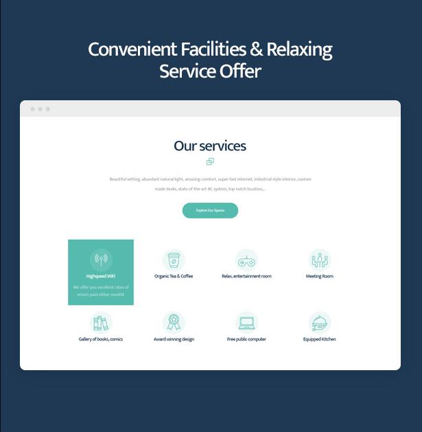 Coworkshop Coworking Space WordPress-Theme mit praktischen Einrichtungen und entspannendem Büroangebot