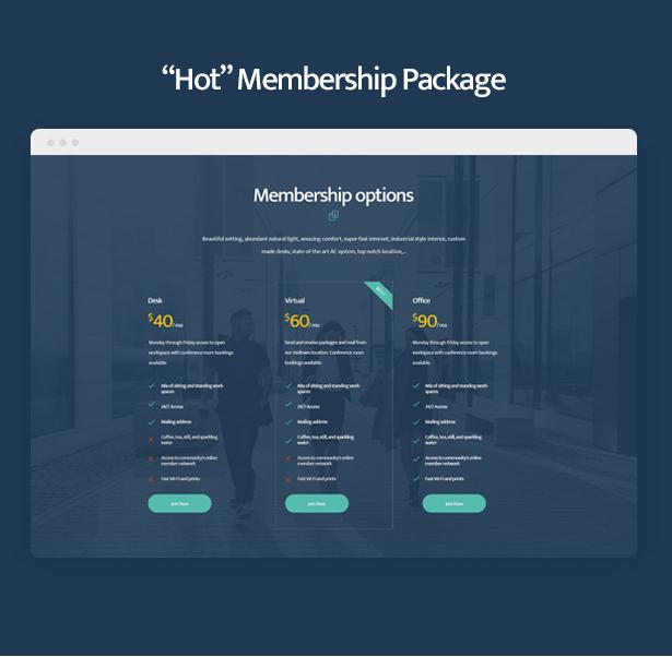 Coworkshop Coworking Space WordPress Theme mit heißen Mitgliedschaftspaketen