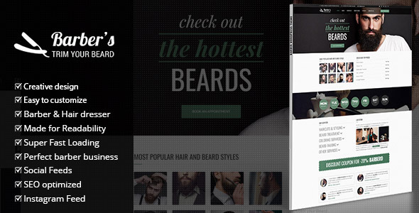Wordpress Immobilien Template Barber - WordPress Theme for Barbers & Hair Salons