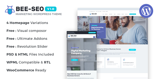 Wordpress Corporate Template Bee SEO - Marketing WordPress Theme
