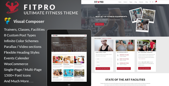 Wordpress Immobilien Template FitPro - Events Fitness Gym Sports WordPress Theme
