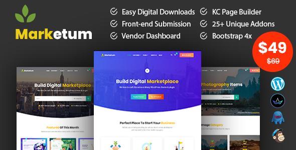 Wordpress Shop Template Marketum - Digital Product WordPress Theme