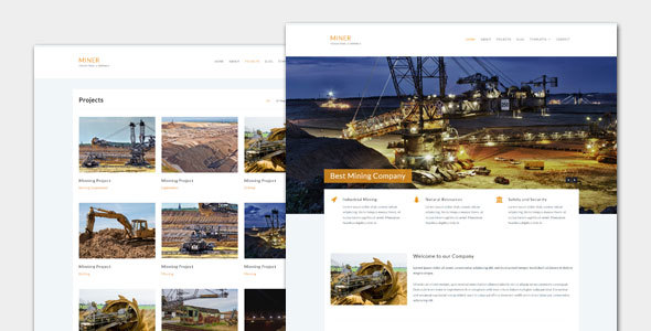 Wordpress Corporate Template Miner - Modern Industrial WordPress Theme