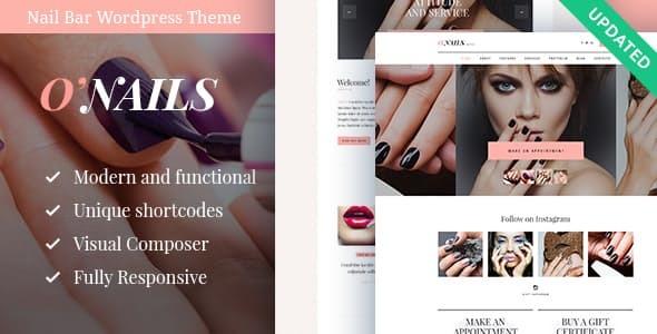Wordpress Immobilien Template O'Nails - Nail Bar & Beauty Salon Wellness WordPress Theme