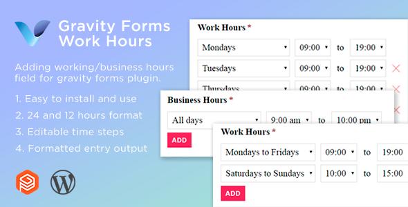 Wordpress Add-On Plugin Gravity Forms Work Hours Field