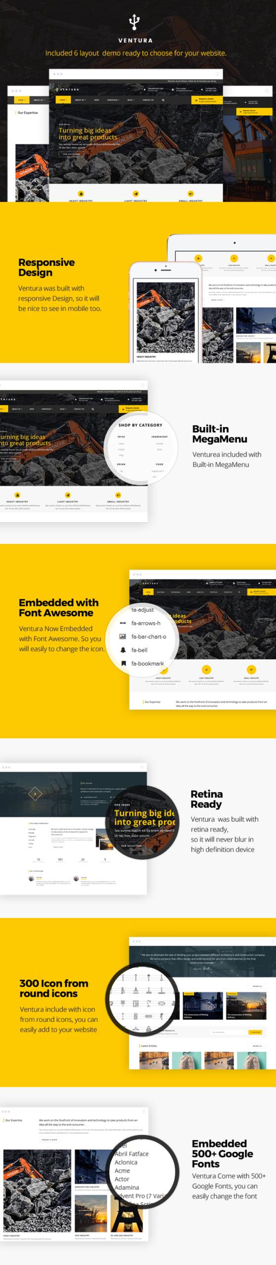 Wordpress Corporate Template Ventura - Industrial WordPress Theme