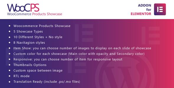 Wordpress Add-On Plugin WooCommerce Products Showcase for Elementor WordPress Plugin