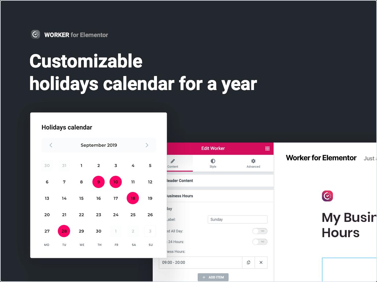 Anpassbarer Feiertagskalender für ein ganzes Jahr