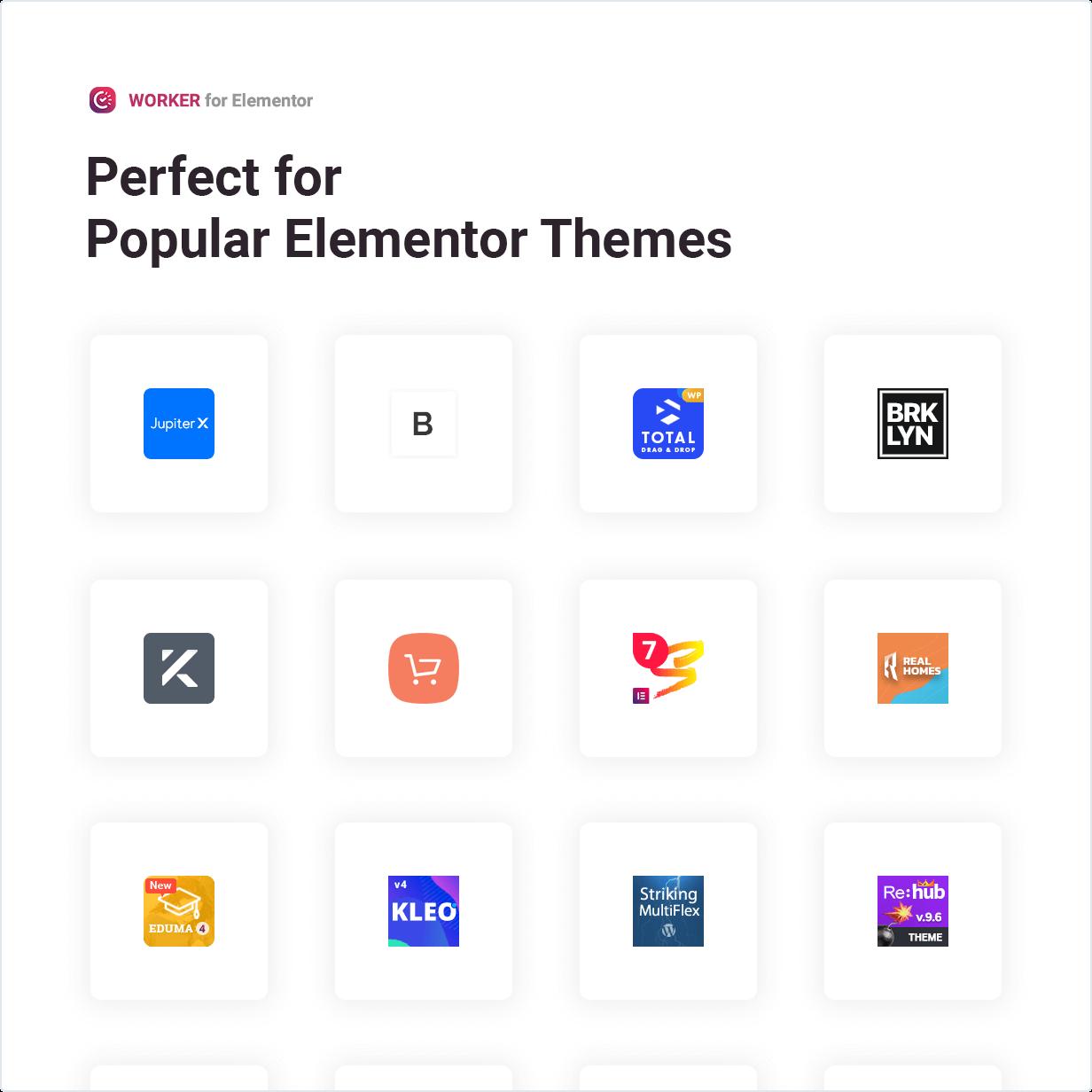 Das Worker-Widget eignet sich perfekt für beliebte Elementor-Designs