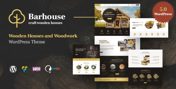 Wordpress Immobilien Template Barhouse - Wooden House Construction and Woodworks WordPress Theme