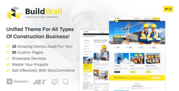 Wordpress Immobilien Template BuildWall - Construction Company Elementor WordPress Theme