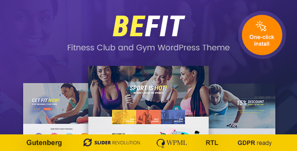 Wordpress Immobilien Template Be Fit - WordPress Theme for Gym, Yoga & Fitness Centers
