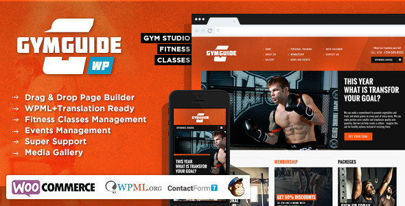 Wordpress Immobilien Template Gym Guide - Fitness Sport WordPress Theme