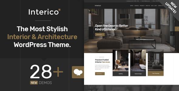 Wordpress Immobilien Template Interico - Stylish Interior Design & Architecture WordPress Theme