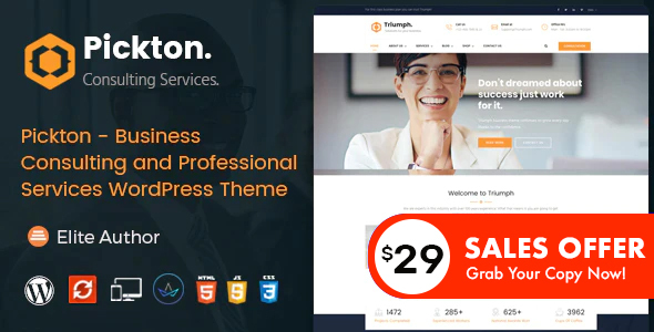 Wordpress Immobilien Template Pickton - Consulting WordPress Theme