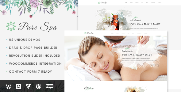 Wordpress Immobilien Template Pure - Spa & Beauty Responsive WordPress Theme