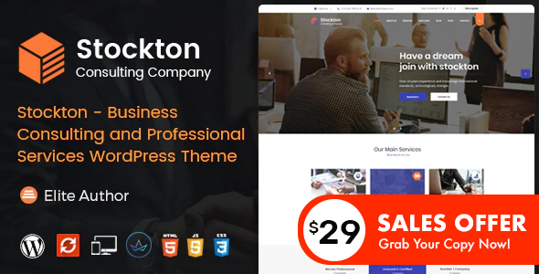 Wordpress Immobilien Template Stockton - Business & Financial Consulting WordPress Theme
