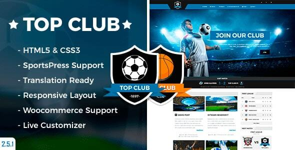 Wordpress Immobilien Template Top Club - Sports Theme for WordPress