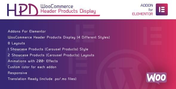 Wordpress Add-On Plugin WooCommerce Header Products Display for Elementor - WordPress Plugin