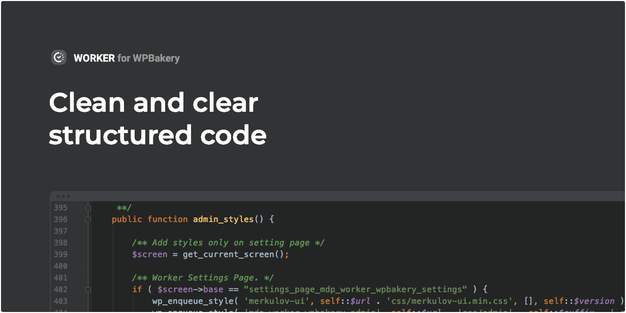 Das Worker-Widget verfügt über sauberen und klar strukturierten Code