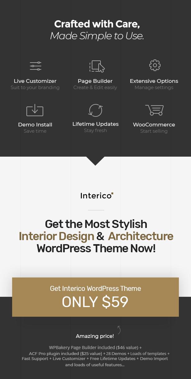 Holen Sie sich Interico - Stilvolle Innenarchitektur, Architektur & Möbel WordPress Theme