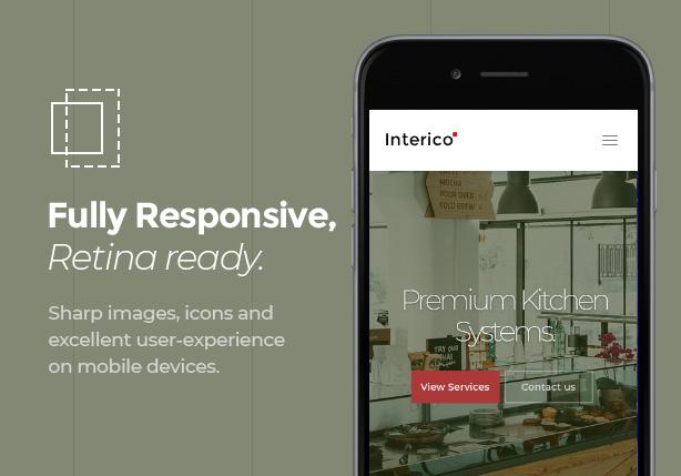 Scharfe und perfekt ansprechende Innenraum-Website auf jedem Gerät.