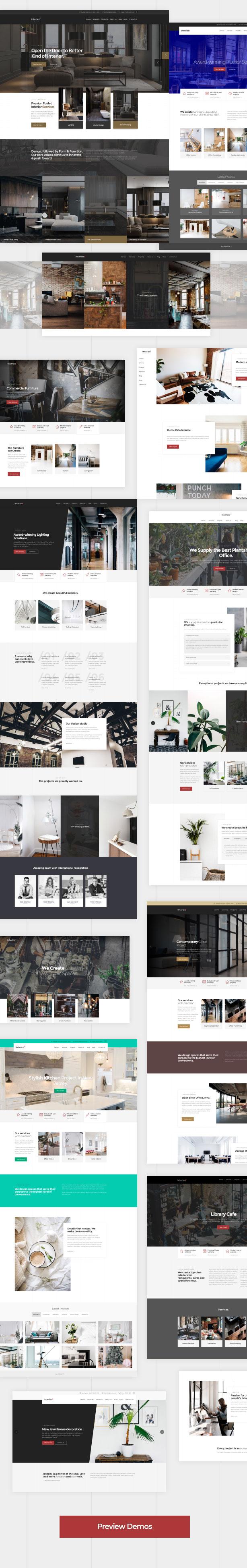 Stilvolle Demos für Websites zu Innenarchitektur, Architektur und Möbeln