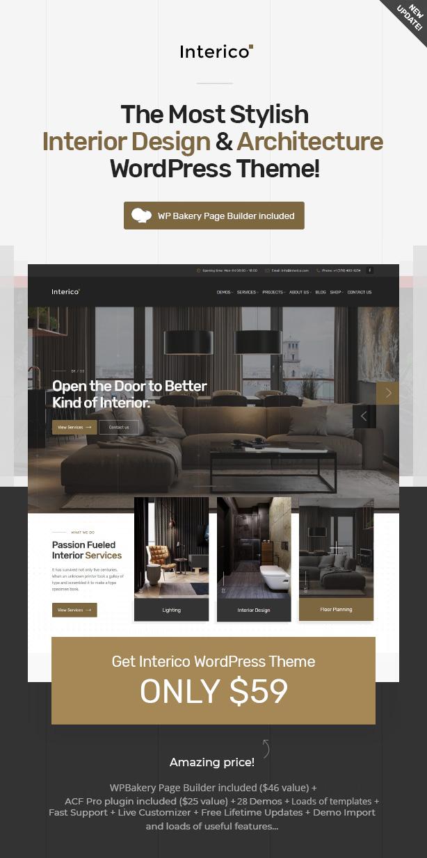 Interico - Stilvolle Innenarchitektur, Architektur & Möbel WordPress Theme