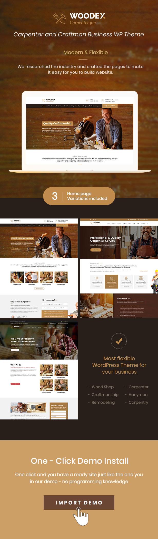 Woodex - Schreiner und Handwerker Business WordPress Theme - 1
